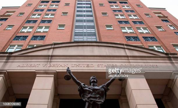 The Albert V Bryan US Courthouse is viewed in Alexandria Virginia on July 31 for the opening of the jury selection for the Paul Manafort trial Donald...