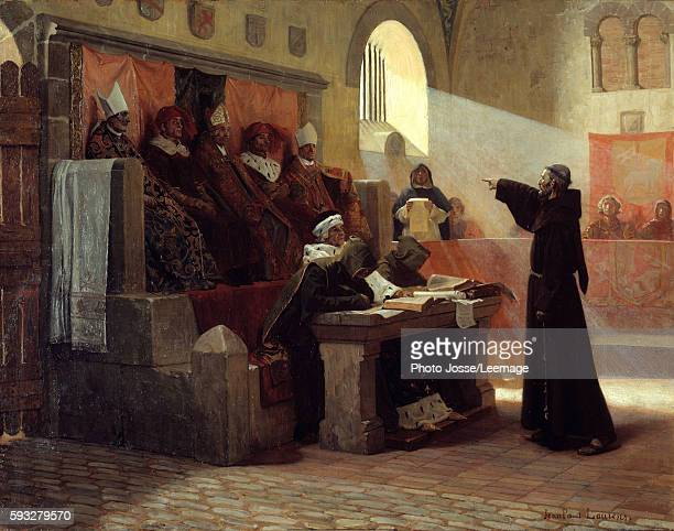 The Albigensian Crusade The Agitator of Languedoc Bernard Delicieux a Spiritual Franciscan friar during his trial Painting by JeanPaul Laurens 1887...