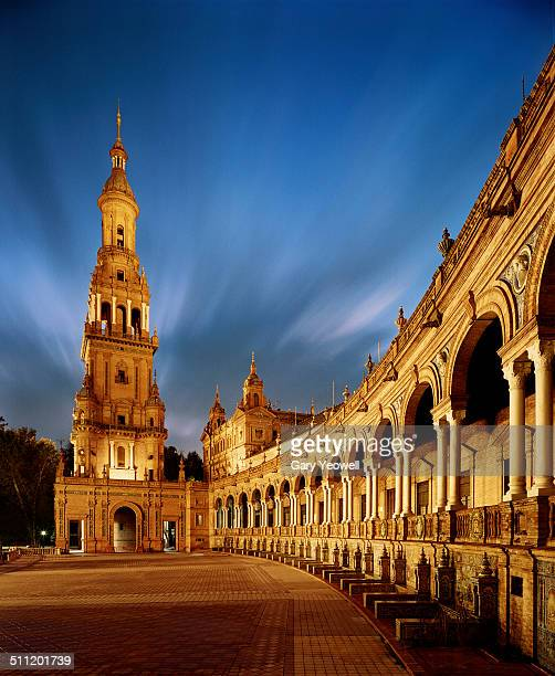 The Alcazar Royal Palace in Seville at dusk