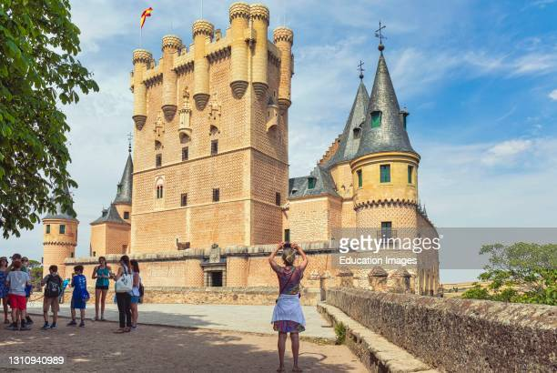 The Alcazar. The central tower is the Tower of John II of Castile. Segovia, Segovia Province, Castile and Leon, Spain. The Old Town of Segovia and...