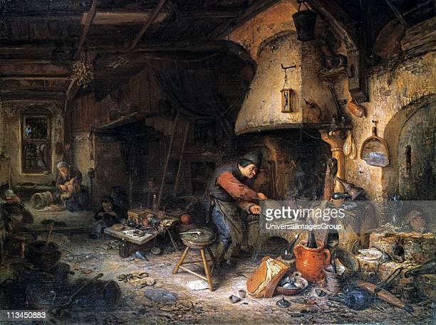 The Alchemist' 1661 Oil on panel Adriaen van Ostade Dutch genre painter Alchemist applying bellows to furnace Around him are utensils used in his...