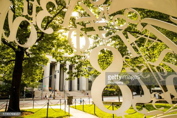 The Alchemist sculpture in front of the Rogers Building at the Massachusetts Institute of Technology campus in Cambridge, Massachusetts, U.S., on...