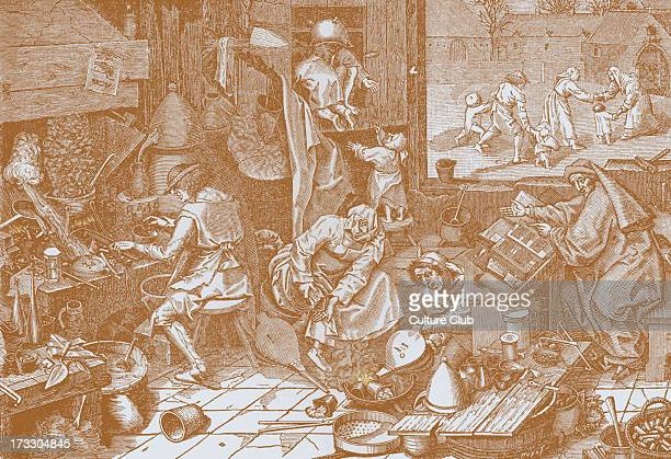 'The Alchemist's Laboratory' after the picture by Breughel the Elder engraved by Cock 16th century