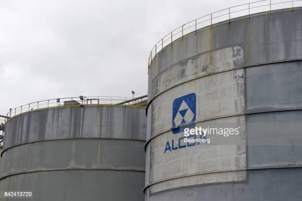 The Alcoa Corp logo is displayed on a storage tank at the company's Kwinana Alumina Refinery in the port area of Kwinana Western Australia Australia...