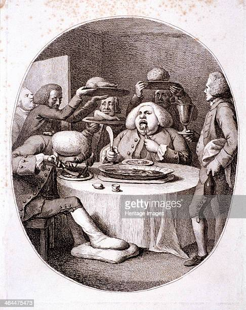 The alderman's dinner 1775 An obese alderman eats gluttonously his slimmer companion bent over a plate evidently suffers from gout as his bandaged...