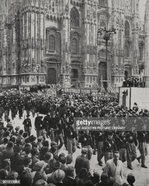 The Aldo Resega Black Brigade parading in Piazza Duomo on the 22nd anniversary of the March on Rome Milan Italy World War II photograph by Luce...
