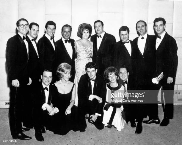 1963 The Aldon Music Staff headquarted in The Brill Building poses for a photo in New York New York circa 1963 Top Jack Keller Artie Levine Lou Adler...