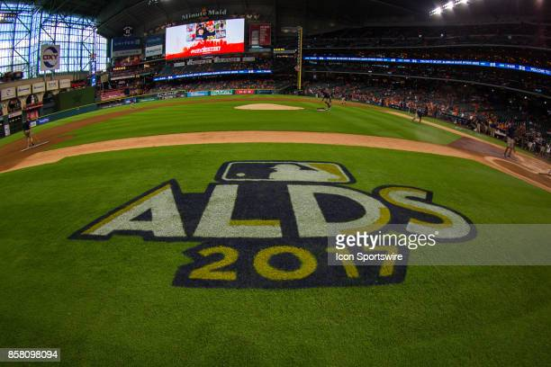 The ALDS 2017 logo on the field before game one of the American Division League Series between the Houston Astros and the Boston Red Sox at Minute...