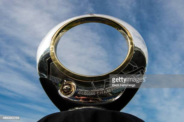 The ALeague Championship Trophy is pictured at Pirtek Stadium during a Western Sydney Wanderers Trophy Photo Opportunity on April 24 2014 in Sydney...