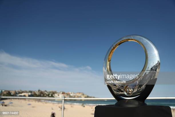 The ALeague trophy is seen during a Sydney FC ALeague Semi Final media opportunity at Bondi Beach on April 23 2018 in Sydney Australia