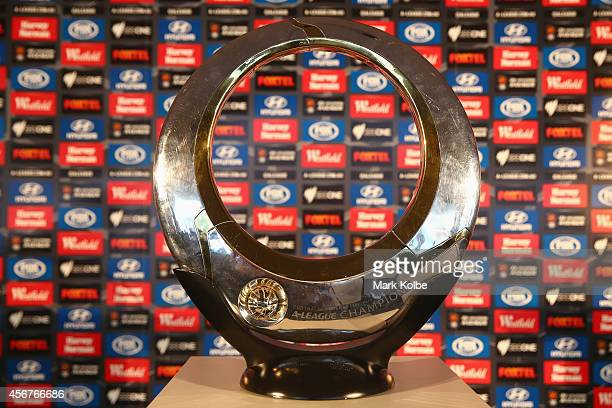 The ALeague trophy is seen during the ALeague 201415 Season launch at Allianz Stadium on October 7 2014 in Sydney Australia