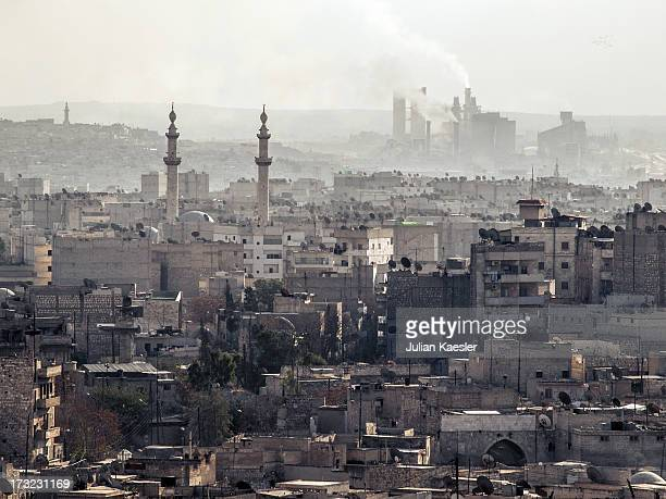 The Aleppo skyline on a late winters afternoon, as seen from on top of the Citadel.