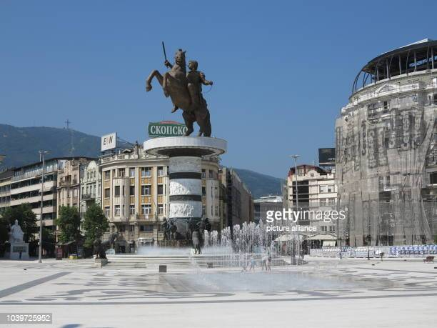The Alexander the Great Fountain in the city centre of Skopje, Macedonia, 01 August 2015. The city centre of Macedonia's capital Skopje once...