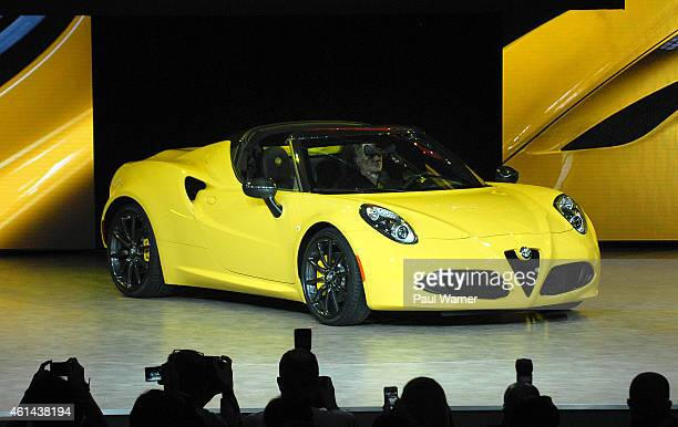 The Alfa Romeo 4C Spider makes it's North American debut during the North American International Auto Show press preview days at Cobo Center on...