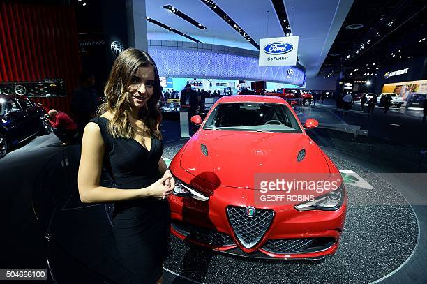 The Alfa Romeo Giulia Guadrifogli vehicle is unveiled during the press preview at the 2016 North American International Auto Show in Detroit Michigan...