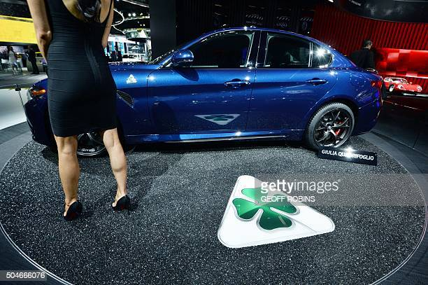 The Alfa Romeo Giulia Guadrifoglio vehicle is unveiled during the press preview at the 2016 North American International Auto Show in Detroit...