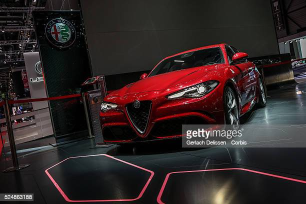 The Alfa Romeo Giulia on display at the 86th Geneva International Motorshow at Palexpo in Switzerland March 2 2016