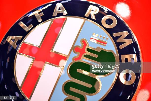 The Alfa Romeo logo is seen during the 83rd Geneva Motor Show on March 6 2013 in Geneva Switzerland Held annually with more than 130 product premiers...