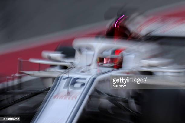 the Alfa Romeo Sauber of Charles Leclerc during the Formula 1 tests at the BarcelonaCatalunya Circuit on 09th March 2018 in Barcelona Spain