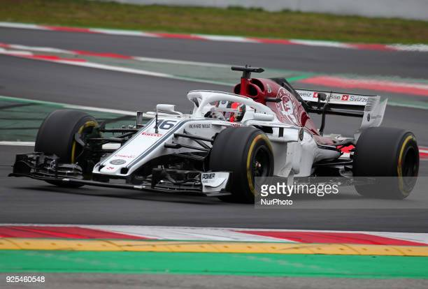 the Alfa Romeo Sauber of Charles Leclerc during the tests at the BarcelonaCatalunya Circuit on 27th February 2018 in Barcelona Spain