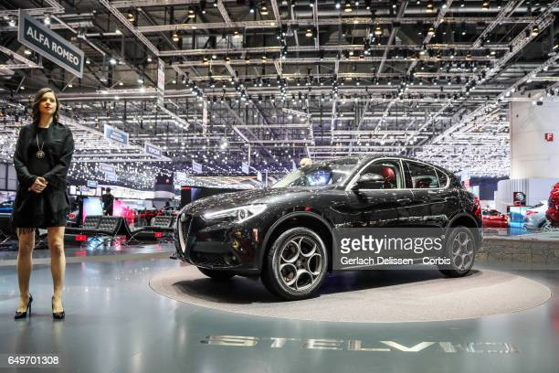 The Alfa Romeo Stelvio on display during the second press day of the Geneva Motor Show 2017 at the Geneva Palexpo on March 8 2017 in Geneva...