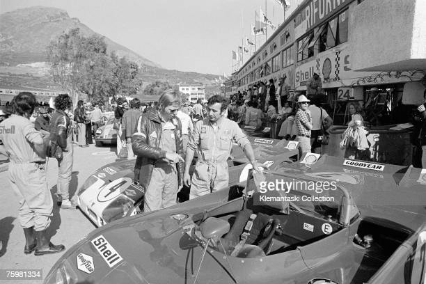 The Alfa Romeo team discussing their car before the Targa Florio Sicily 21st May 1972