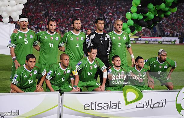 The Algeria football team line up for a team photograph prior to the FIFA2010 World Cup qualifying match between Egypt and Algeria at the Cairo...
