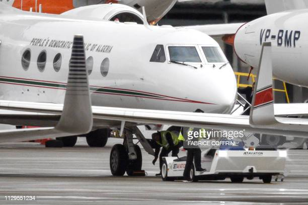 The Algerian government plane that transported the country's ailing president Abdelaziz Bouteflika to Switzerland is pictured on the tarmac after...
