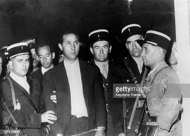 The Algerian political rebel leader Ahmed BEN BELLA arrested by French policemen in Algiers in 1956