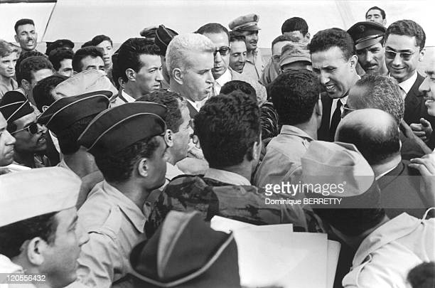 The Algerian War In Algiers Algeria In March 1962 Ahmed Ben Bella who later presided over the ministerial cabinet of independent Algeria is greetd by...