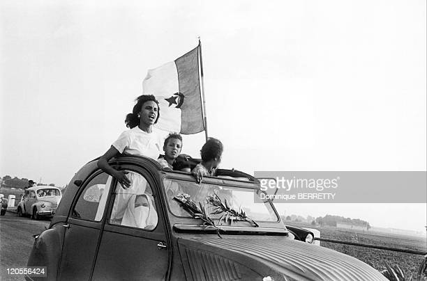 The Algerian War In Algiers Algeria The Evian Accords were signed on March 18 making Algerian independentBen Bella is greeted by his compatriots