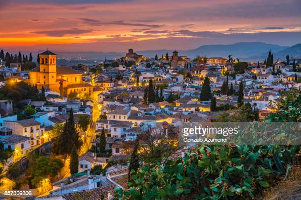 the alhambra and albaicin at granada spain - albaicín fotografías e imágenes de stock