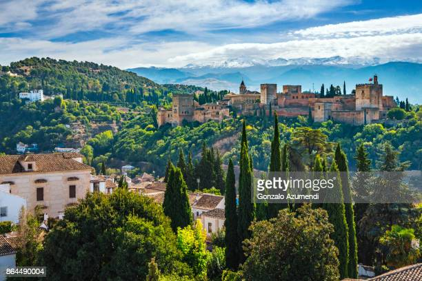 the alhambra at granada spain - spanien stock-fotos und bilder
