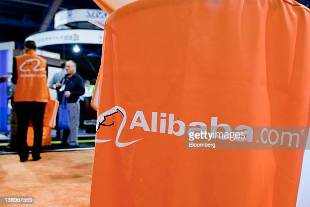 The Alibabacom Ltd logo is seen at the company's booth during the 2012 International Consumer Electronics Show in Las Vegas Nevada US on Friday Jan...
