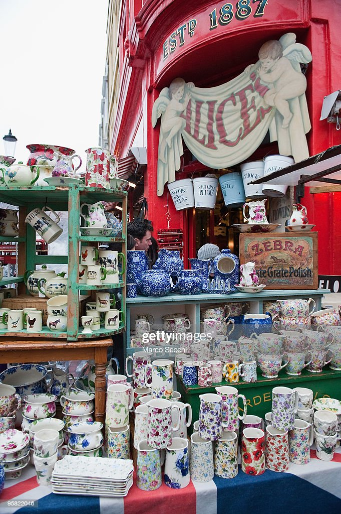 The Alice stall sells crockery in Portobello market on January 16, 2010 in London, England. Portobello traders fear for the Market's future after Lipka's Antiques Arcade, where more than 150 traders had their stalls, was redeveloped to accommodate a large High street chain store.