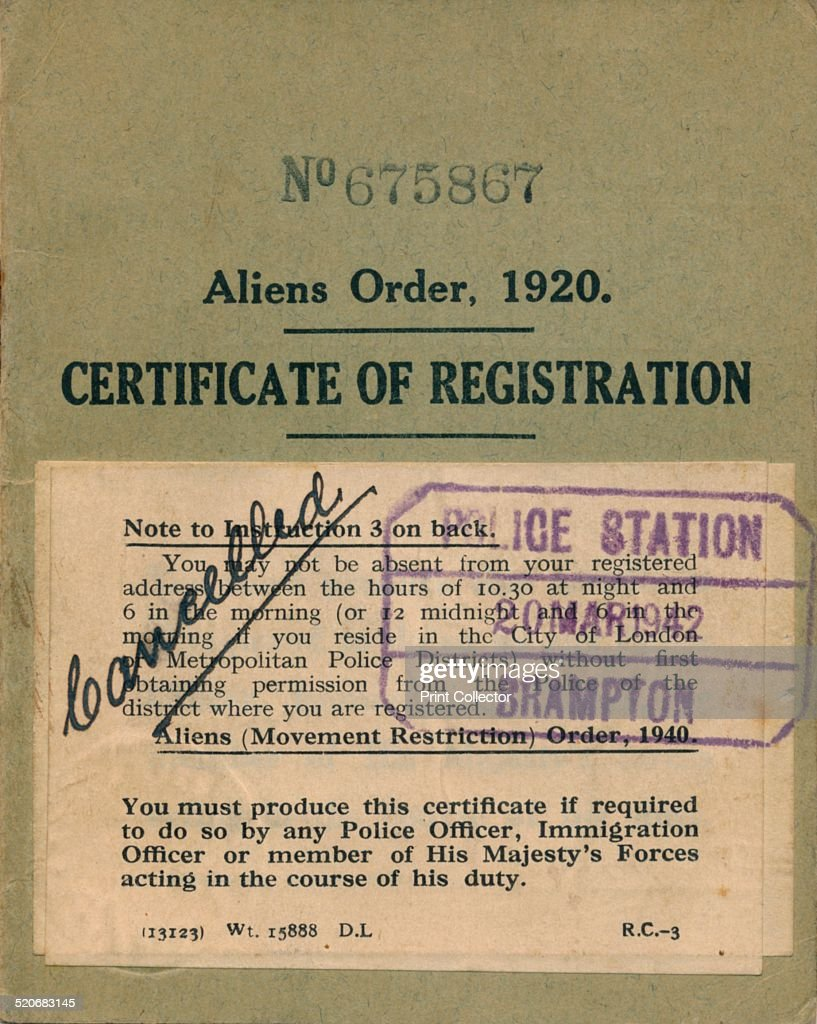 aliens 1920 alien order statutory instrument 1919 certificate act registration under taboo young resident restriction editorial getty gettyimages
