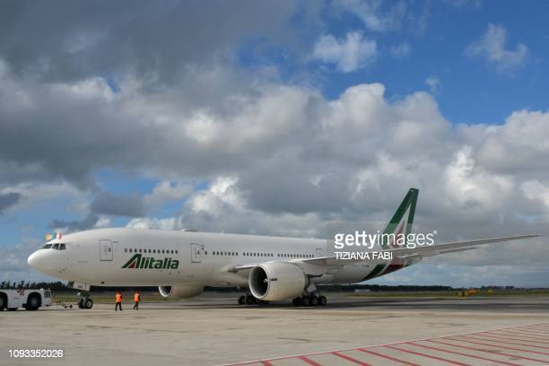 The Alitalia Boeing 777 jetliner transporting Pope Francis prepares to take off from Fiumicino airport on February 3 as the Pope is on his way to a...