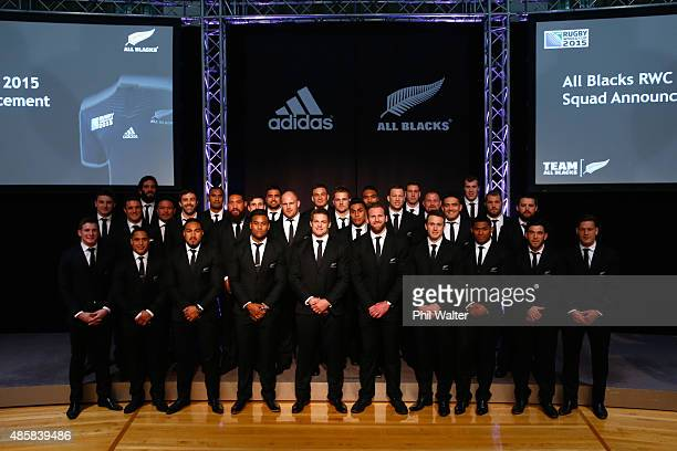 The All Black 2015 Rugby World Cup team pose on stage during the New Zealand All Blacks Rugby World Cup team announcement at Parliament on August 30...