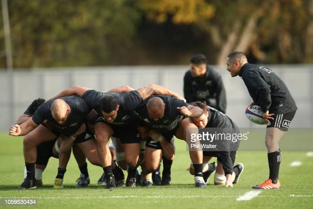 The All Black front row practice the scrum during a New Zealand All Blacks captain's run at The Lensbury on November 9 2018 in London England