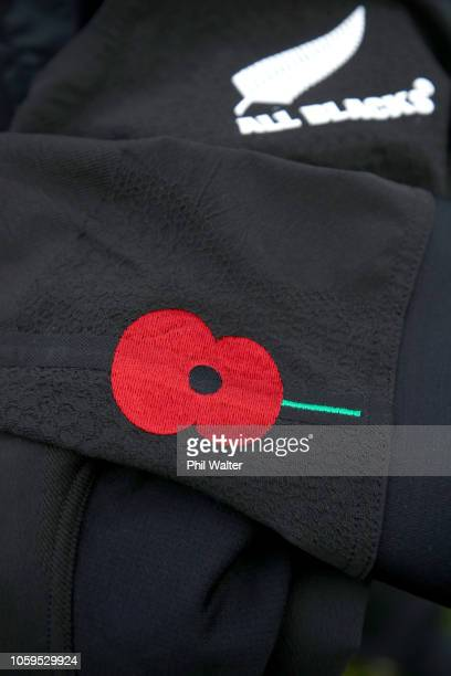 The All Black jersey with a poppy to commemorate Armistice Day is pictured during a New Zealand All Blacks captain's run at The Lensbury on November...