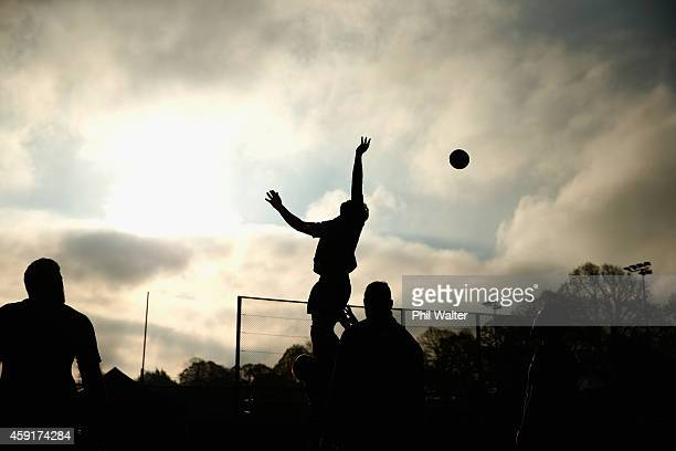 The All Blackks practice the lineout during the New Zealand All Blacks training session at Sophia Gardens on November 18, 2014 in Cardiff, Wales.