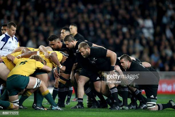 The All Blacks and the Wallabies pack down for a scrum during The Rugby Championship Bledisloe Cup match between the New Zealand All Blacks and the...