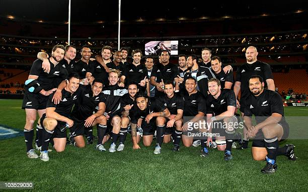 The All Blacks celebrate after their victory in the 2010 Tri-Nations match between the South African Springboks and the New Zealand All Blacks at the...