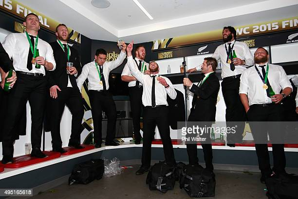 The All Blacks enjoy a singalong in the dressing room following the 2015 Rugby World Cup Final match between New Zealand and Australia at Twickenham...