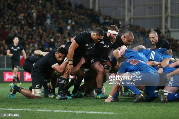 The All Blacks forwards pack in a scrum during the International Test match between the New Zealand All Blacks and France at Forsyth Barr Stadium on...