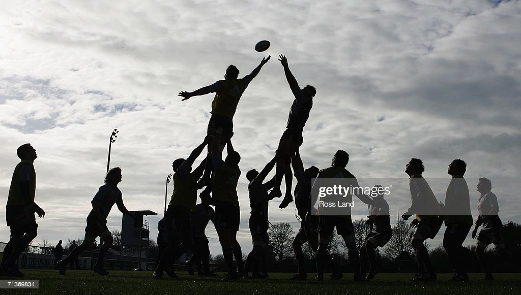 The All Blacks forwards practice lineout drills during an All Blacks training session at Rugby Park on July 05, 2006 in Christchurch, New Zealand. The All Blacks play the Australian Wallabies in aTri-Nations/Bledisloe Cup rugby test match on July 08.