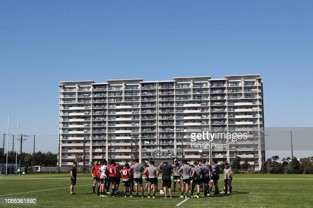 The All Blacks gather during the New Zealand All Blacks Training Session at the Arcs Urayasu Park on October 30 2018 in Urayasu Chiba Japan