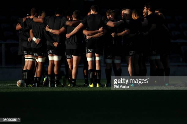 The All Blacks group togeather during the New Zealand All Blacks Captain's Run at Forsyth Barr Stadium on June 22 2018 in Dunedin New Zealand