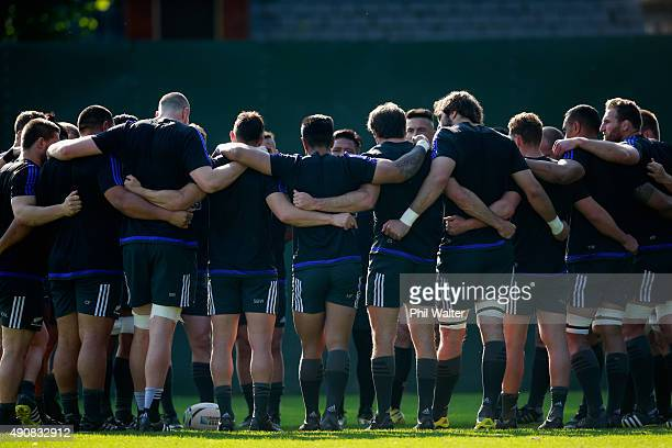 The All Blacks huddle togeather during a New Zealand All Blacks Captain's Run at Sophia Gardens on October 1, 2015 in Cardiff, United Kingdom.