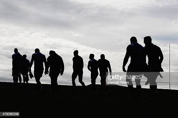 The All Blacks leave a New Zealand All Blacks training session at Trusts Stadium on July 3 2015 in Auckland New Zealand